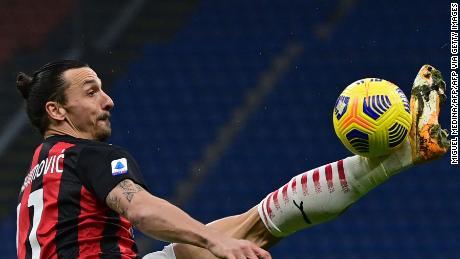 Zlatan Ibrahimovic controls the ball with a trademark high kick.