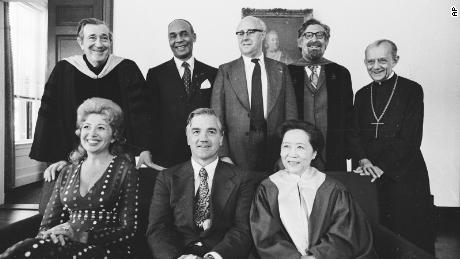 Wu received an honorary degree from Harvard in 1974. Here she's pictured at the right of the bottom row, sitting beside the university's president, Derek Bok, and opera star Beverly Sills, a fellow honorary degree recipient. MIT President Jerome B. Wiesner, novelist Ralph Ellison, cellist Mstislav Rostropovich, Institute for Advanced Study faculty member Clifford Geertz and Archbishop Monsignor Rev. Helder Camara also received honorary degrees that year and are pictured in the top row.