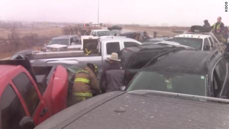 Almeno 20 cars were caught in a pile up on I40 in Oklahoma City Monday.