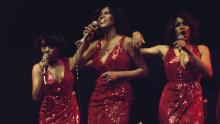 The Supremes (Susaye Greene, Mary Wilson and Scherrie Payne) during a live concert performance at the New Victoria Theatre in London, England, Great Britain, in April 1974.