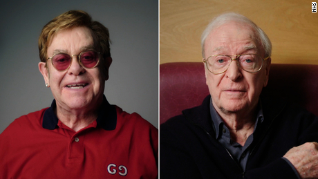Elton John and Michael Caine star in vaccine PSA