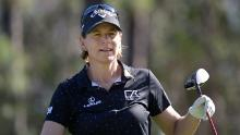 Sorenstam walks on the first hole after hitting her tee shot during the final round of the Tournament of Champions.