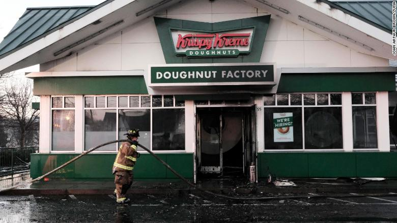 Fire rips through historic Krispy Kreme donut shop owned by Shaquille O'Neal