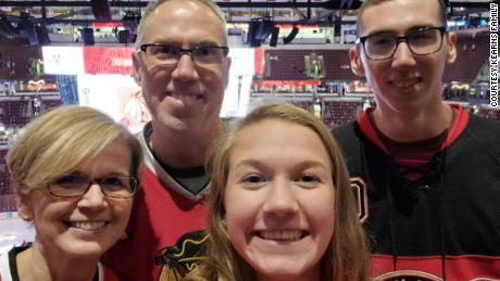 "Alex Kearns, pictured here with his parents and sister Sydney, was described as a ""true goofball"" with a ""heart of gold."""