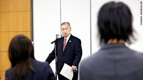 Yoshiro Mori, the former President of Tokyo Olympic and Paralympic Games Organising Committee (TOGOC) speaks to reporters at the JOC headquarters in Chuo Ward, Tokyo on Feb. 4, 2021.