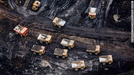 Heavy haulers are seen at the Athabasca oil sands in Alberta, Canada.