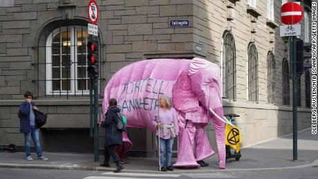 "Extinction Rebellion activists protest against Norway's climate policy, proclaiming: ""There's an elephant in the room that we aren't talking about."""