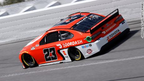 Bubba Wallace, driver of the #23 Door Dash Toyota, drives during practice for the NASCAR Cup Series 63rd Annual Daytona 500 at Daytona International Speedway on February 10, 2021 in Daytona Beach, Florida.