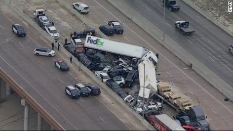 Numerous vehicles were piled up on this section of the highway alone.