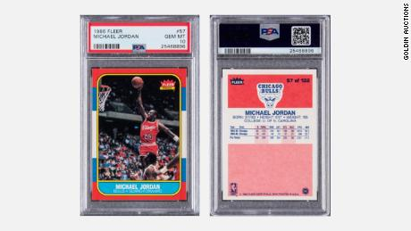 The Michael Jordan 1986 Fleer rookie card, which sold for $738,000 in an auction that closed on Feb. 1.