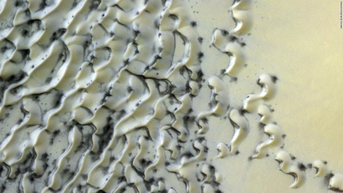 Is that cookies and cream on Mars? 番号, it's just polar dunes dusted with ice and sand.