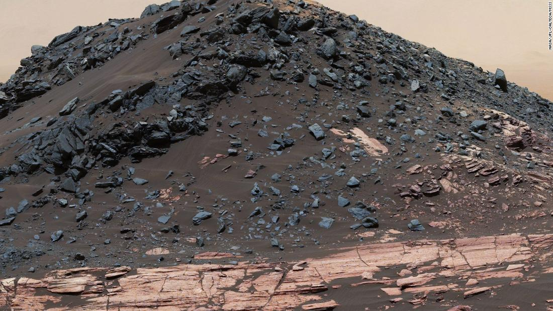 This dark mound, called Ireson Hill, is on the Murray formation on lower Mount Sharp, near a location where NASA's Curiosity rover examined a linear sand dune in February 2017.