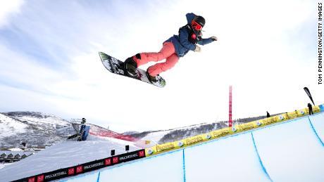 Chloe Kim training in Park City, Utah.