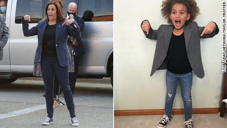 Paisley dressed up as Vice President Kamala Harris, rocking her signature Converse Chuck Taylors.