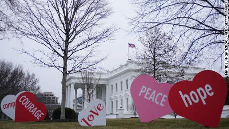 Valentine's Day messages decorate the North Lawn of the White House in Washington, DC on February 12, 2021.