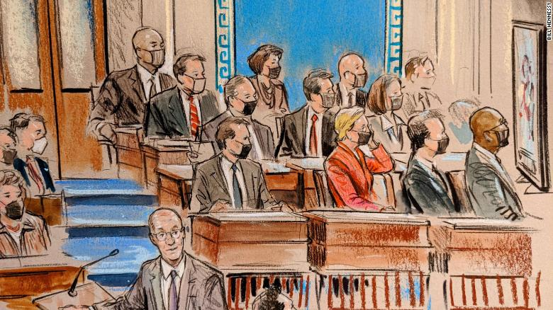 Binne die Senaat: Sketches of lawmakers watching videos from Trump counsel on Day 4 van die beskuldigingsverhoor