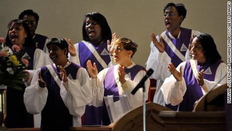 Members of the Fellowship Gospel Choir sing hymns at John Wesley AME Zion Church  in Washington.