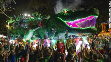 A New Orleans Mardi Gras float rolling down Napoleon Avenue in 2020.