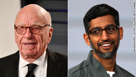 Rupert Murdoch (left) has long argued with tech leaders like Google CEO Sundar Pichai (right) that platforms should pay for news content.