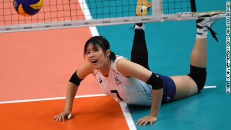 South Korea's Lee Jae-yeong in action during the women's quarter-final volleyball match between South Korea and the Netherlands at the Maracanazinho stadium in Rio de Janeiro on August 16, 2016.