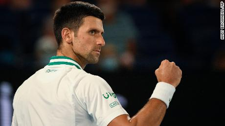 Djokovic celebrates during his match against Karatsev.