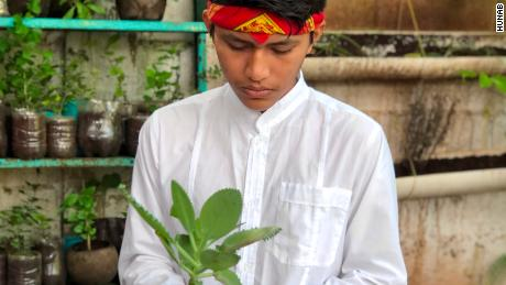 Paul, 15, has been a student at HUNAB's education center for eight years. He is growing a herb garden and studying traditional Mayan healing with a mentor.
