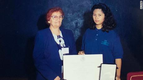 Morales Casanova pictured in 1998 with her grandmother, Irene, after being awarded the National Youth Award for Environmental Protection.