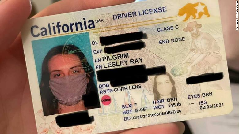 A California woman's new ID has a photo of her wearing a face mask