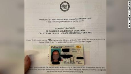 Lesley Pilgrim was issued a REAL ID with a photo of her wearing a mask. Portions of this photo have been blurred by the provider of the photo to protect personal information.