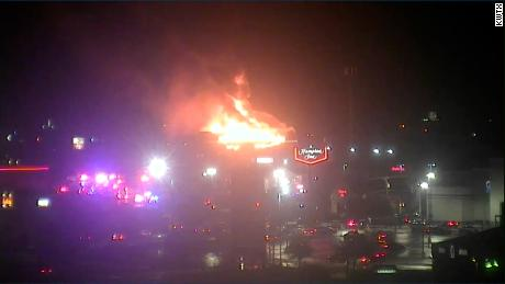 Flames engulf a Hilton Garden Inn in Killeen, Texas Friday