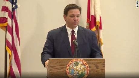 Florida Gov. Ron DeSantis speaks at a news conference on Friday in West Palm Beach.