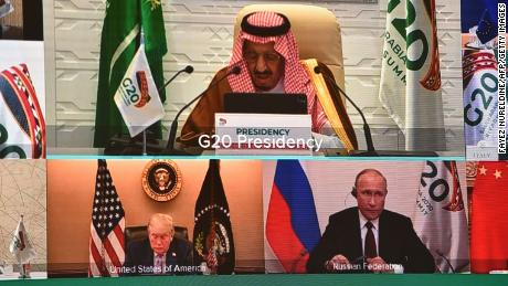 Biden's core message was very simple: I am not Donald Trump. The former US President is seen with Saudi King Salman bin Abdulaziz and Russian President Vladimir Putin during the virtual G20 summit in November 2020.