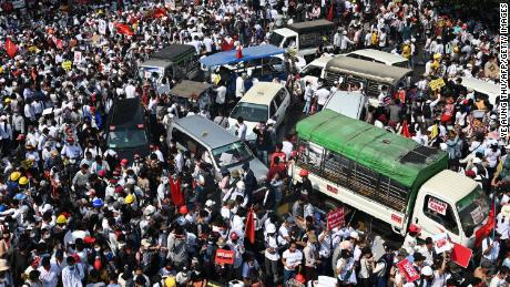 Protesters gather for a demonstration against the military coup in Yangon on February 22.
