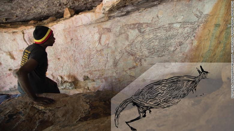 Canguro dipinto sopra 17,000 years ago is Australia's oldest known rock art, dicono gli scienziati
