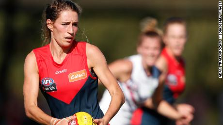 Cat Phillips in action for the Melbourne Demons against the Fremantle Dockers at Casey Fields on March 18, 2017 in Melbourne, Australia.