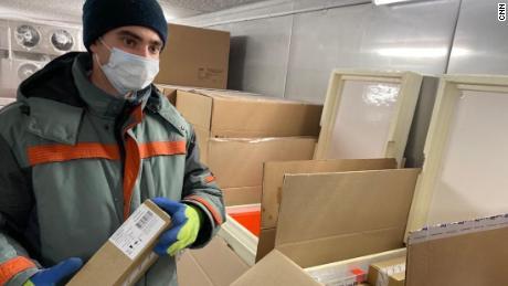 Boxes of Sputnik V are kept in cold storage before shipment.