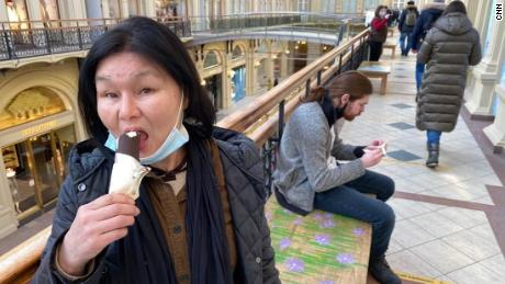 Patrons at the GUM department store enjoy a free ice cream after their vaccination.