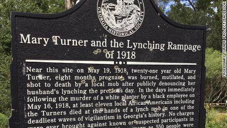 The marker that memorialized Mary Turner, a pregnant Black woman who was lynched along with 10 other Black residents of their Georgia town, was shot so many times it had to be replaced.