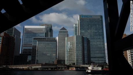 London's Canary Wharf business district is home to banks such as JPMorgan Chase, Citi, Barclays and HSBC.