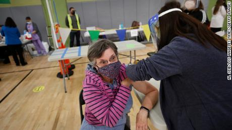 Substitute teacher Jane Golliver, 67, and other Los Angeles Unified School District employees received their first dose of the vaccine last week.