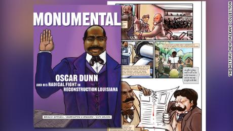 The shifting political tactics and infighting complicating Dunn's ambitions are richly detailed in Mitchell's graphic novel published by The Historic New Orleans Collection.