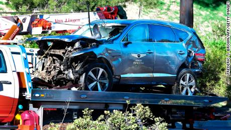 A tow truck recovers the vehicle driven by golfer Tiger Woods in Rancho Palos Verdes, California,  after a rollover accident..