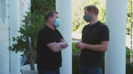 """Prince Harry and James Corden outside the house from """"The Fresh Prince of Bel-Air."""""""