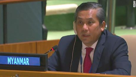 Myanmar's U.N. Ambassador Kyaw Moe Tun speaks inside the General Assembly on Friday, February 26.