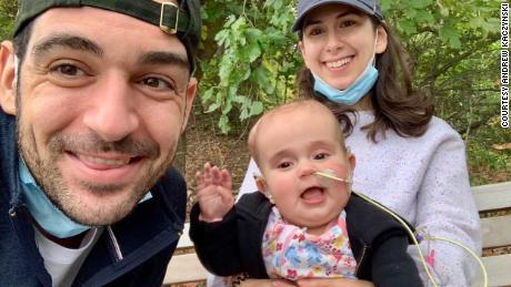 """CNN correspondent Andrew Kaczynski, his wife, Rachel Louise Ensign, and their daughter Francesca """"Beans"""" Kaczynski."""