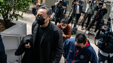 Benny Tai, associate professor of law at the University of Hong Kong and co-founder of activist group Occupy Central with Love and Peace (OCLP) reports to the Ma On Shan Police Station on February 28, in Hong Kong.