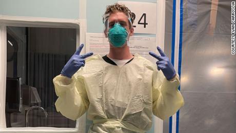 Evan Carroscia, a travel nurse working in San Diego, California.