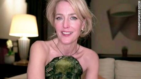 Gillian Anderson, winner of Best Performance by an Actress in a Supporting Role in a Series, Limited Series or Motion Picture Made for Television speaks during the 78th Annual Golden Globe Virtual General Press Room on February 28, 2021.