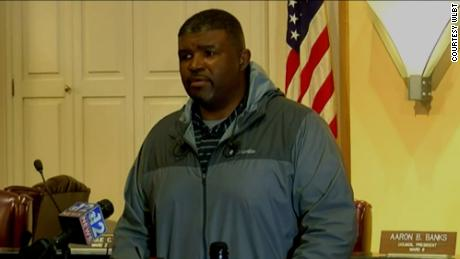 Dr. Charles Williams, director of Public Works, speaks during a news conference on Monday.