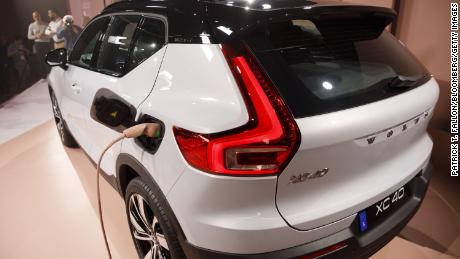 The Volvo XC40 Recharge is displayed during an event in Los Angeles, California in 2019.